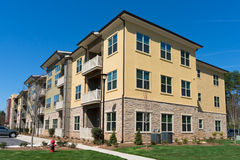 Apartment complex exterior. On a spring day Royalty Free Stock Images