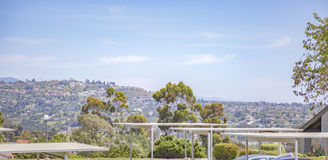 Apartment complex view of Hount Helix in San Diego. Outdoors in Southern California homes ready for real estate listings Stock Photos
