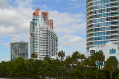 Apartment complexes, South Pointe Park, South Beach, Florida Royalty Free Stock Photo