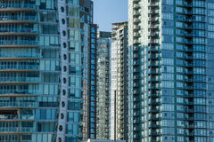 Apartment/Condo Highrises. Vancouver Apartment/Condo City Highrises Windows stock images