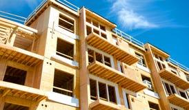 Apartment Condominium Complex, Wood Frame Construction, Victoria, Canada. Blue Sky background royalty free stock photos