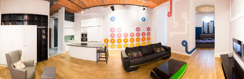 Apartment with connected space. Panoramic view of apartment with connected space Royalty Free Stock Images