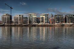 Apartment Construction. Apartments under construction along the river bank, Frankfurt Royalty Free Stock Images