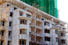 Apartment construction. At a apartment construction site stock images