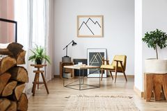 Apartment corner with pictures stock photos