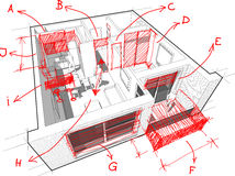 Apartment diagram with hand drawn architect`s notes Royalty Free Stock Photos