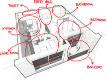 Apartment diagram with hand drawn notes Stock Photography