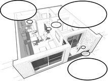 Apartment diagram with people and comic thought bubbles Stock Image