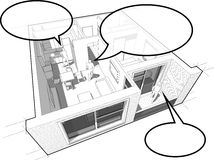 Apartment diagram with people and speech bubbles Royalty Free Stock Photography
