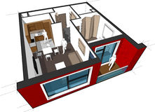 Apartment diagram. Perspective cut-away diagram of a 1-bedroom apartment, completely furnished Stock Photos