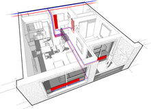 Apartment diagram with radiator heating Stock Photography