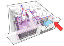 Apartment diagram with underfloor heating and heat pump. Perspective cutaway diagram of a one bedroom apartment completely furnished with hot water underfloor Stock Images