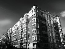 Apartment exterior in black and white