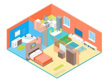 Apartment Family Rooms Interior with Furniture Isometric View. Vector Stock Photos