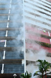 Apartment on fire. High rise building on fire Royalty Free Stock Photo