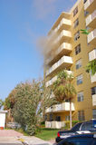 Apartment on fire. A building apartment on fire stock images