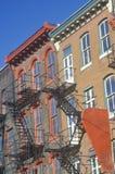 Apartment fire escapes Stock Photo