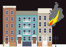 Apartment fire. Flame coming out of a window of an apartment building in the city, EPS 8 vector illustration Royalty Free Stock Image