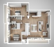 Apartment flat top view, furniture and decors, plan, cross section interior design, architect designer concept idea, gray backgrou royalty free illustration