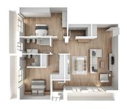 Apartment flat top view, furniture and decors, plan, cross section interior design, architect designer concept idea, white royalty free illustration