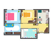 Apartment Floor Plan with Furniture Top View. Vector Stock Images