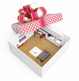 Apartment in gift box Stock Photos