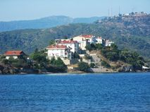 Apartment hotel on the island in aegean sea Stock Photo