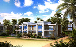 Apartment house on the beach. 3d images Stock Photography