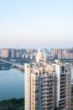 Apartment house and bridge in Guangzhou city Royalty Free Stock Photo