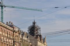 Apartment house with crane Royalty Free Stock Images