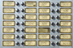 Apartment house doorbell plate Royalty Free Stock Images