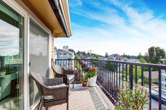 Apartment house exterior in Seattle. Balcony view. Royalty Free Stock Photography