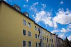 Apartment house in Germany, nice residential area. Residential royalty free stock image