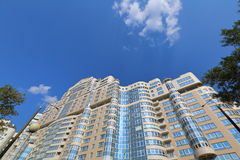 Apartment house. Apartment high-rise residential building with a panoramic glass balcony Royalty Free Stock Image