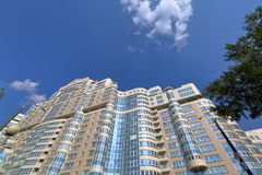 Apartment house. Apartment high-rise residential building with a panoramic glass balcony Stock Photo