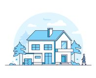 Apartment house - modern thin line design style vector illustration Stock Illustration