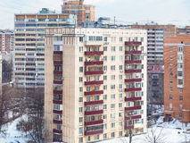 Apartment house in residential quarter in winter Royalty Free Stock Photos
