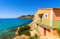 Apartment house view bay beach mountains. Camp de Mar, Majorca island, Spain Royalty Free Stock Images