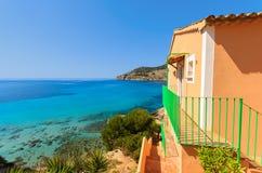 Apartment house view bay beach mountains. Camp de Mar, Majorca island, Spain Royalty Free Stock Photos