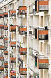 Apartment house wall - rows of balconies Royalty Free Stock Photos