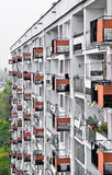 Apartment house wall - rows of balconies Royalty Free Stock Photography