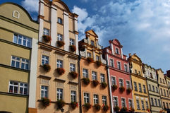 Apartment houses. A row of colorful apartment houses Royalty Free Stock Photo