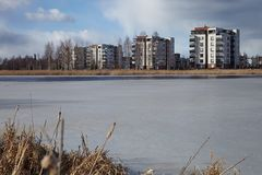 Apartment houses by the lake Stock Image