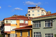 Apartment houses. Low income family residential development in an urban area in Istanbul, Turkey Royalty Free Stock Photography