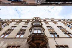 Apartment houses on narrow street in Vienna , Austria Royalty Free Stock Photo