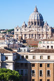 Apartment houses in Rome city and Basilica Royalty Free Stock Photo