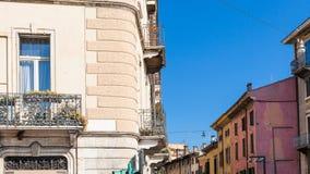 Apartment houses on street in Verona city Stock Photo