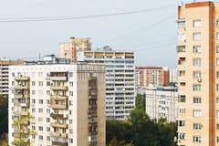 Apartment houses of urban quarter in twilight Stock Photos