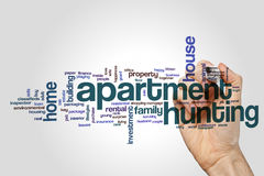 Apartment hunting word cloud. Concept royalty free stock photography