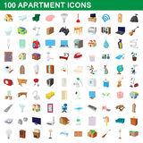 100 apartment icons set, cartoon style. 100 apartment icons set in cartoon style for any design vector illustration Stock Images